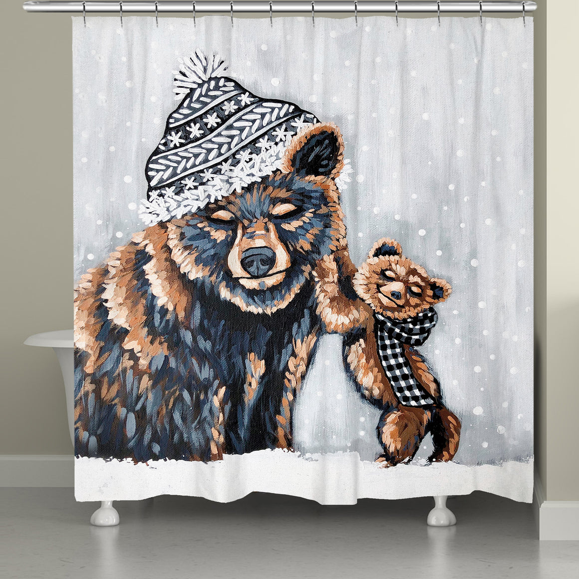 Bear Snow Day Shower Curtain