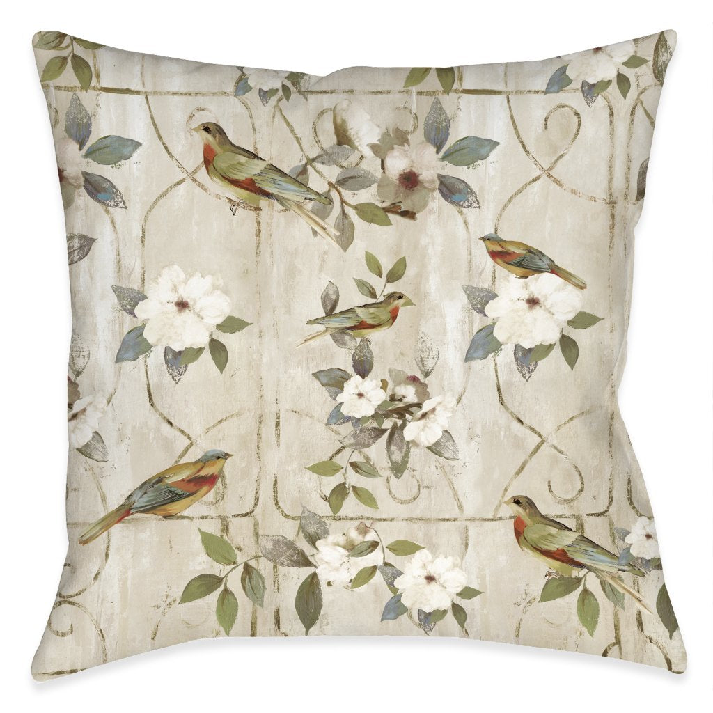 Bird Cage Outdoor Decorative Pillow