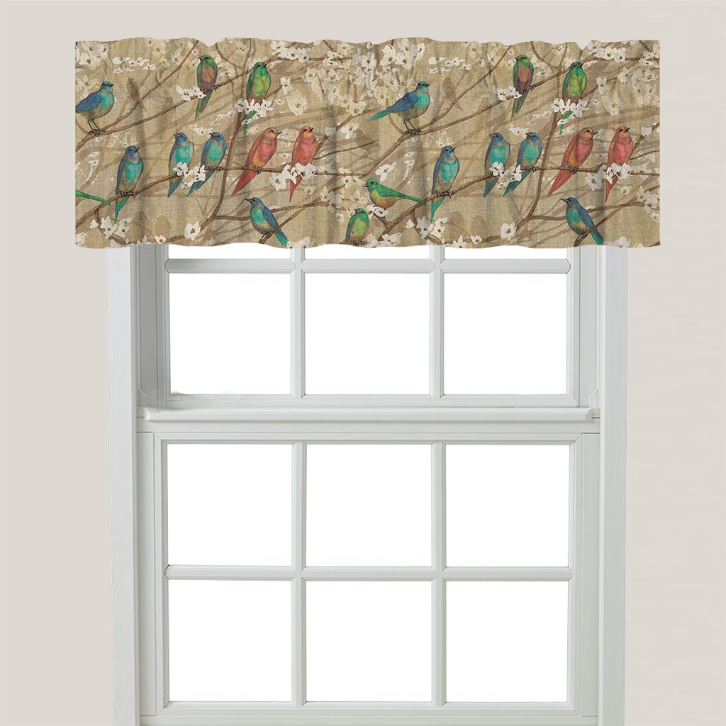 Birds and Blossoms Window Valance