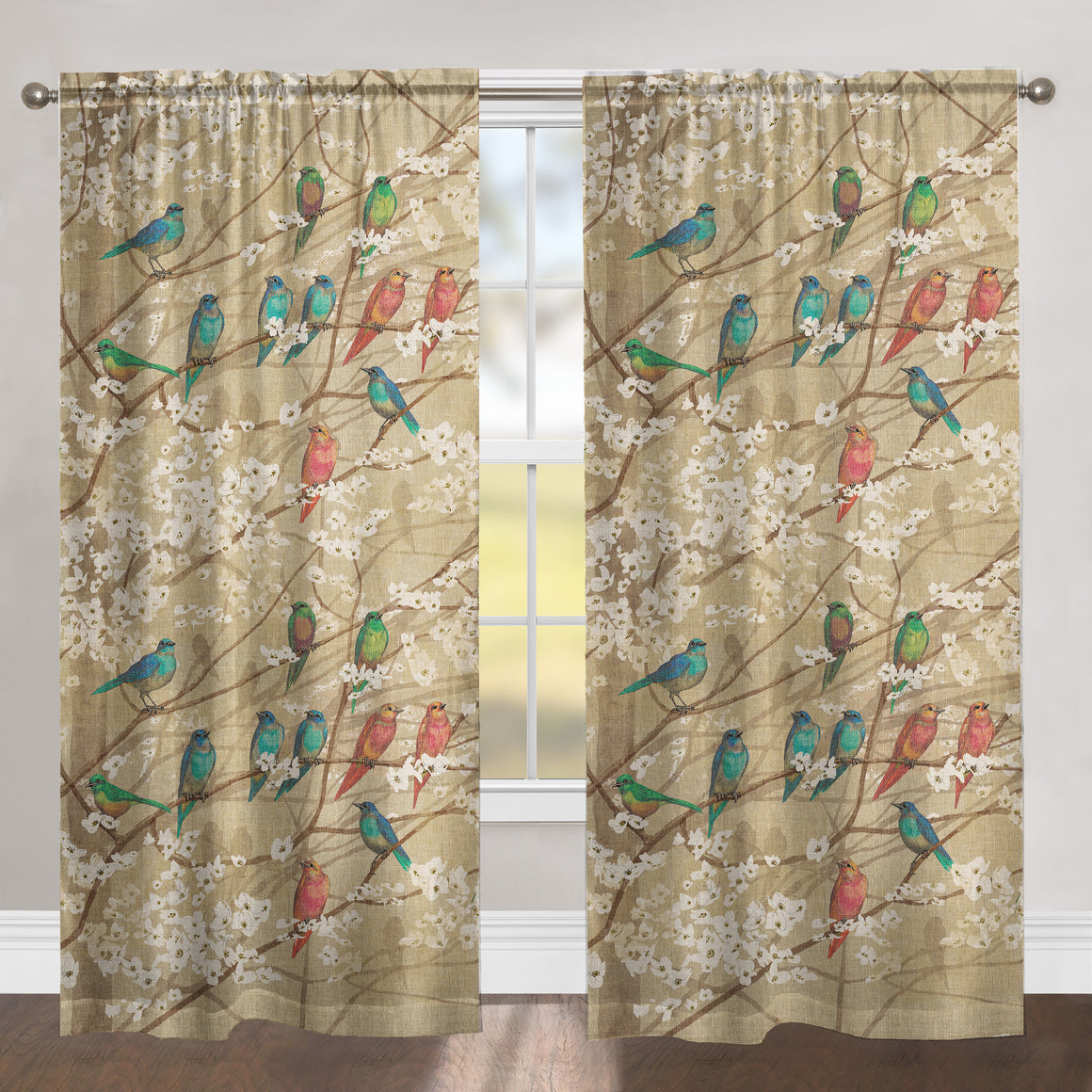 Birds and Blossoms Sheer Window Panel