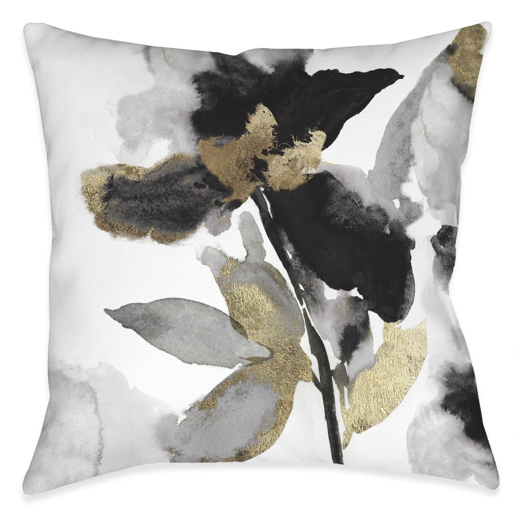 Black and Gold Petals Outdoor Decorative Pillow