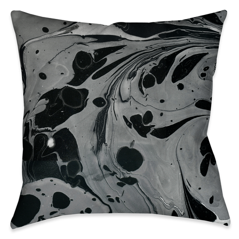Black Gray Marble Outdoor Decorative Pillow