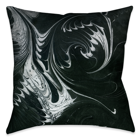 Black White Marble Outdoor Decorative Pillow