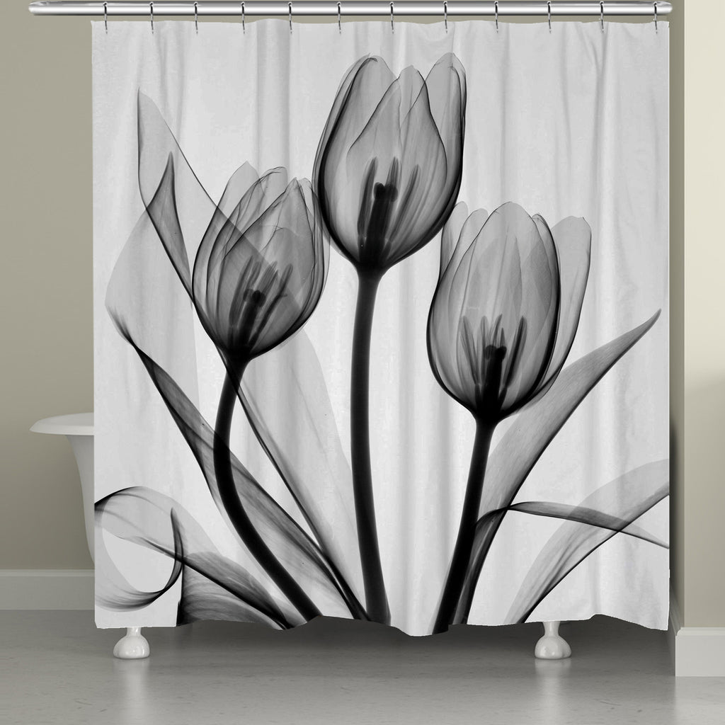 Monochromatic Black Tulips Shower Curtain Laural Home