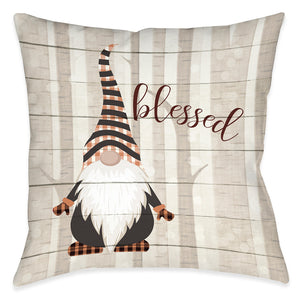 Blessed Gnome Outdoor Decorative Pillow