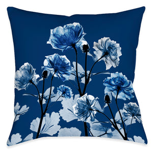 Bloomed Indigo X-Ray Outdoor Decorative Pillow