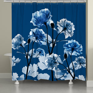 Bloomed Indigo X-Ray Shower Curtain