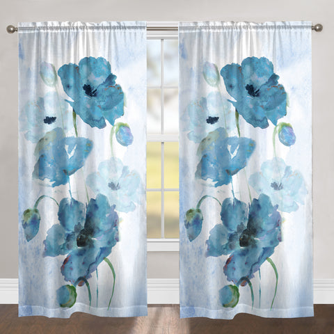 Blooming Indigo Poppies Sheer Window Panel