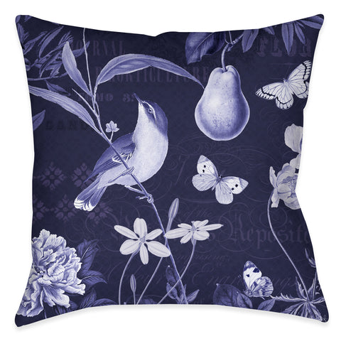 Blue Botanical I Outdoor Decorative Pillow