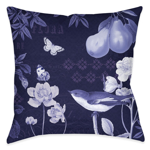 Blue Botanical II Outdoor Decorative Pillow