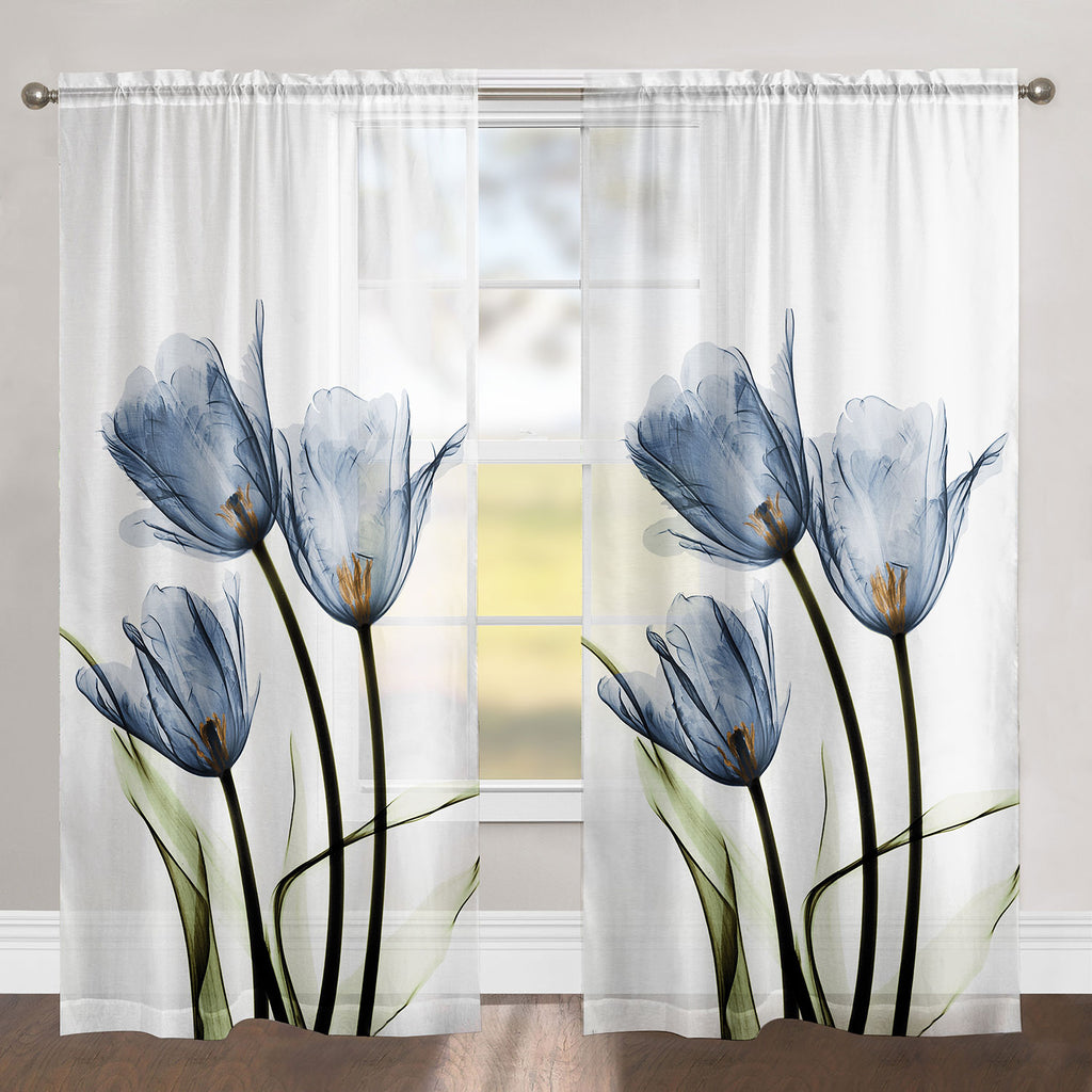 Blue Tulip Trio Sheer Window Panel