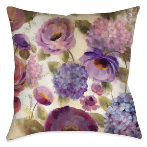 Blue and Purple Flower Song Pillow III