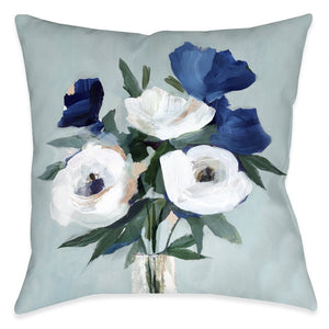 Blue and White Florals Outdoor Decorative Pillow