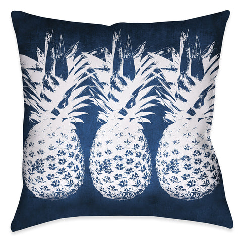 Indigo Pineapples Indoor Decorative Pillow