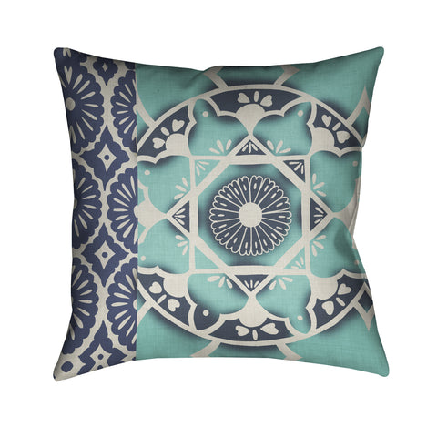 Blue Batik I Outdoor Decorative Pillow