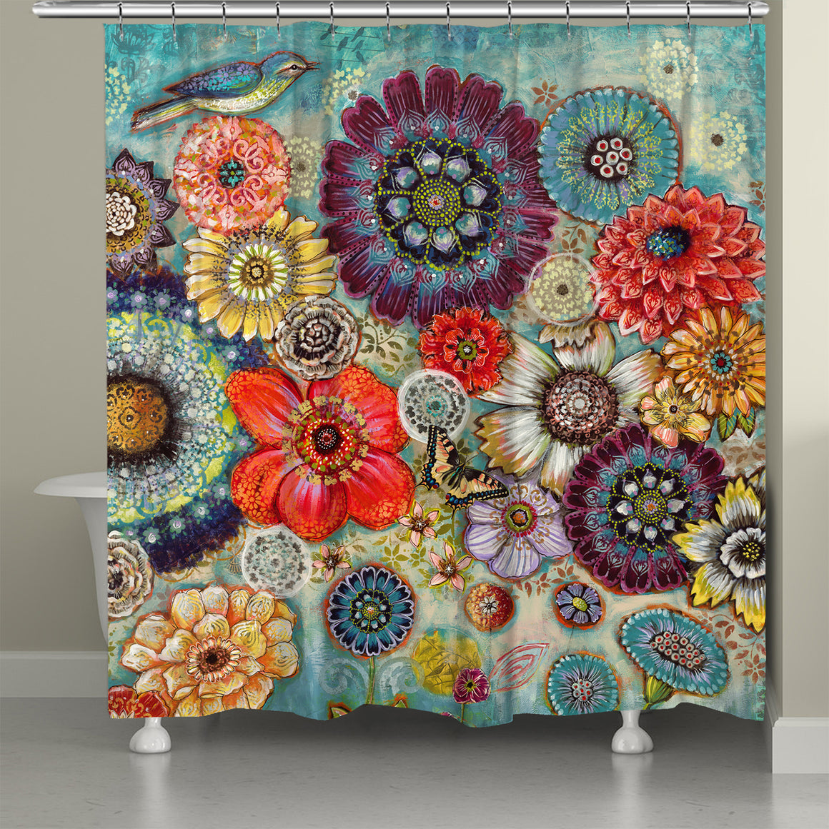 Blue Bird Boho Shower Curtain