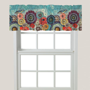 Blue Bird Boho Window Valance