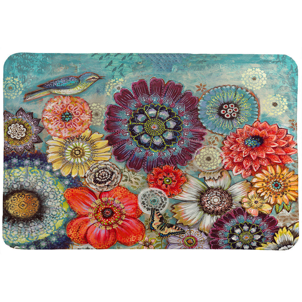 Blue Bird Boho Memory Foam Rug