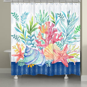 Blue Coastal Coral Shower Curtain