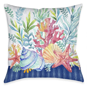 Blue Coastal Coral Outdoor Decorative Pillow