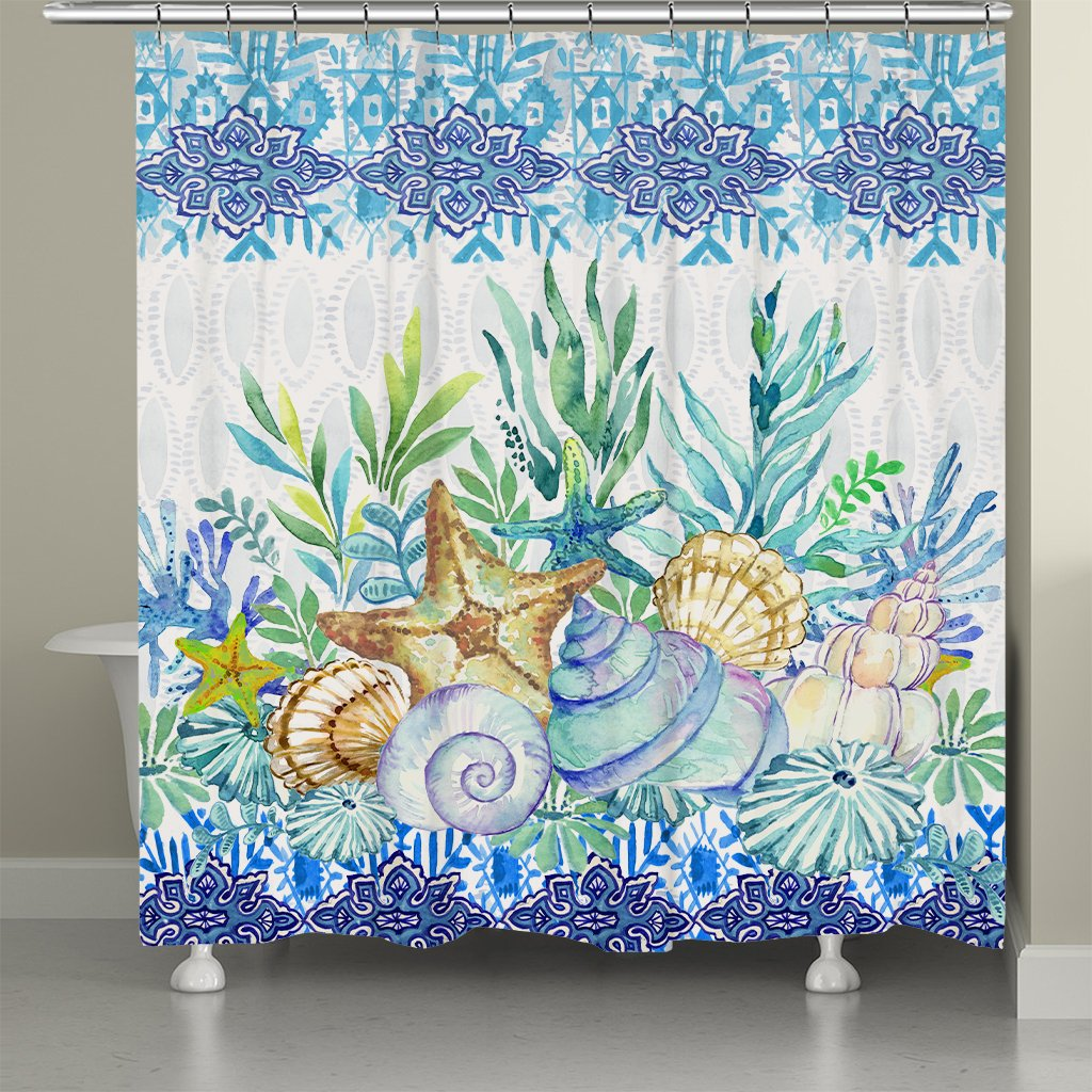 Blue Coastal Essence Shower Curtain