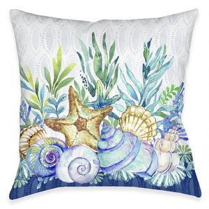 Blue Coastal Outdoor Decorative Pillow