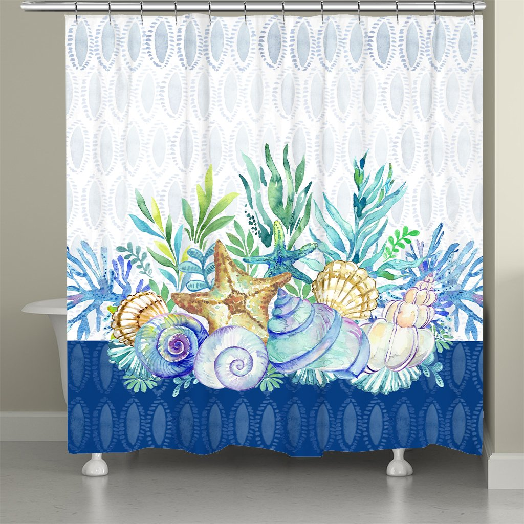 Blue Coastal Shower Curtain
