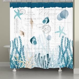 Blue Coral Cove Shower Curtain