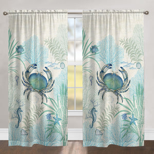 Blue Crab Sheer Window Panel