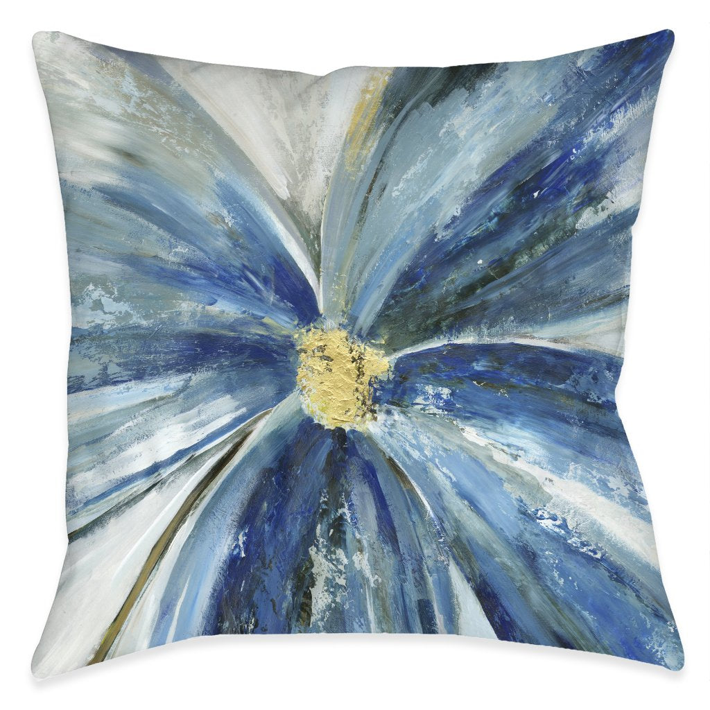 Blue Daisy Outdoor Decorative Pillow