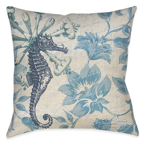 Blue Floral Seahorse Indoor Decorative Pillow