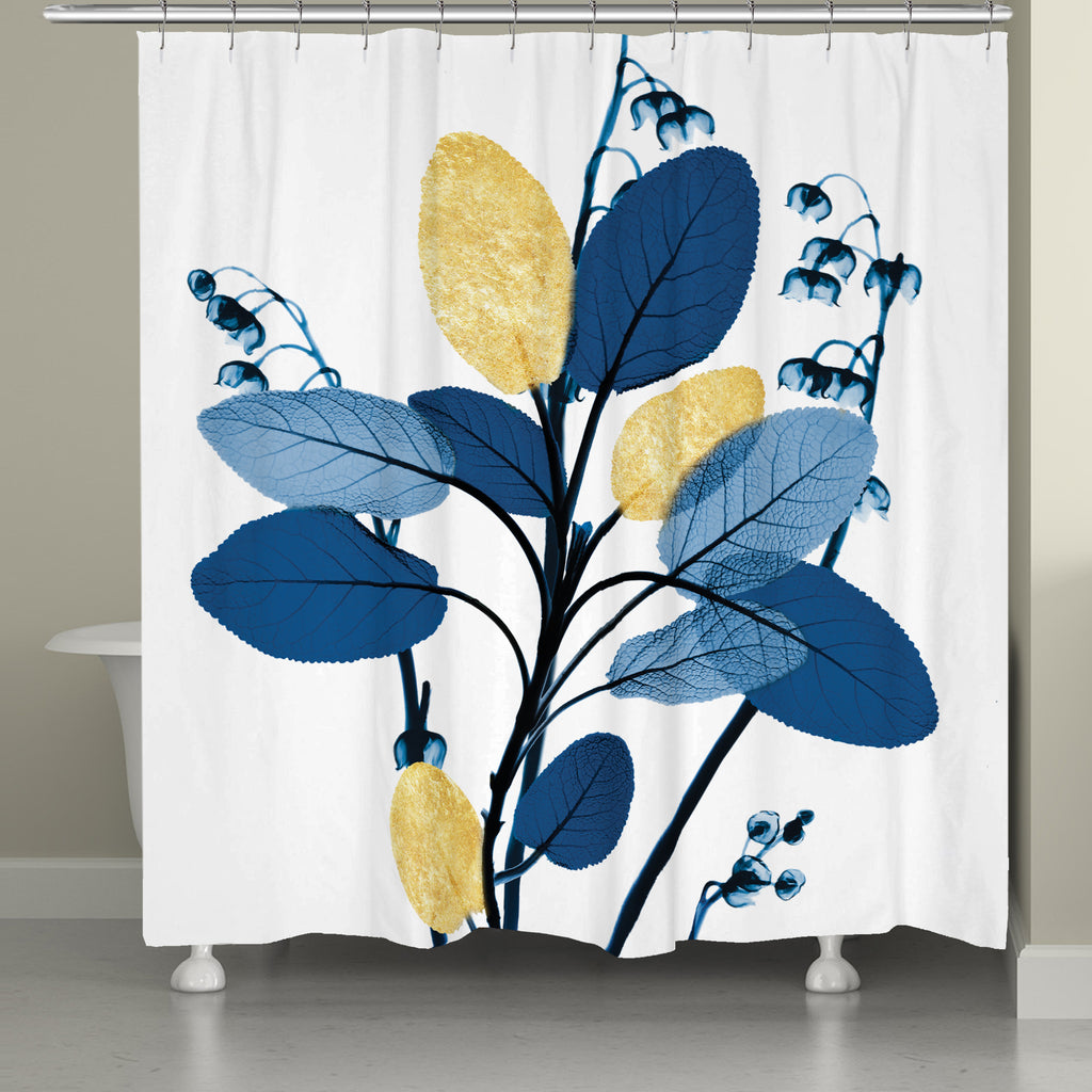 Blue and Gilded Leaves Shower Curtain – Laural Home