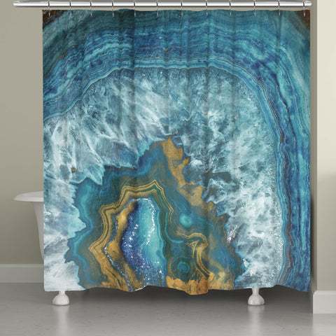 Blue Golden Mineral Shower Curtain