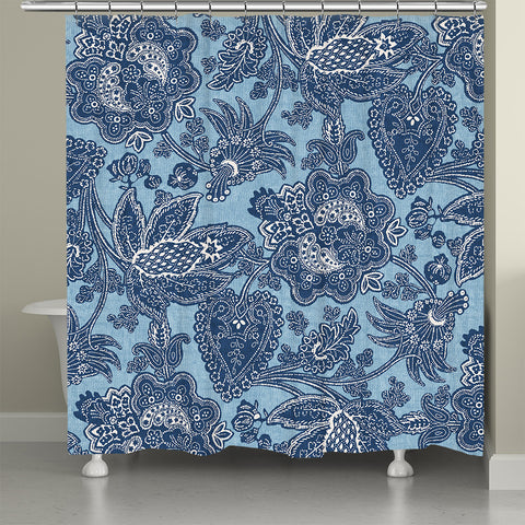 Blue Jean Floral Shower Curtain