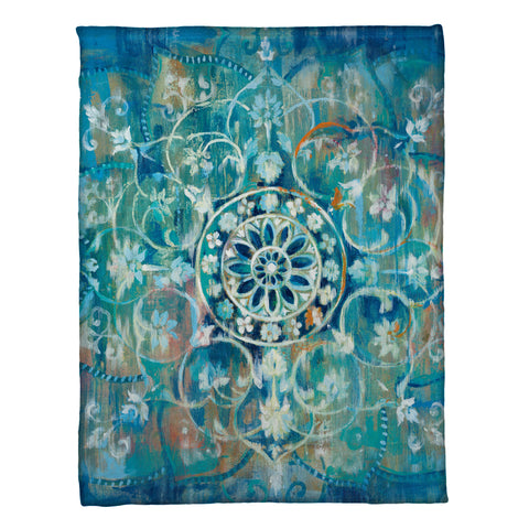 Blue Mandala Fleece Throw