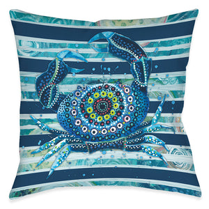 Blue Ocean Crab Outdoor Decorative Pillow