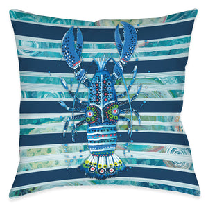 Blue Ocean Lobster Outdoor Decorative Pillow