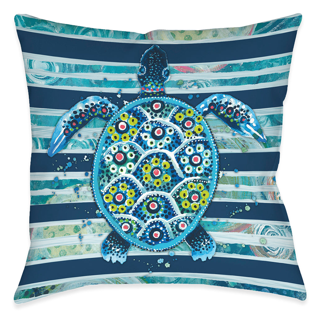 Blue Ocean Turtle Outdoor Decorative Pillow