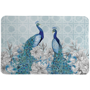Blue Peacocks Memory Foam Rug