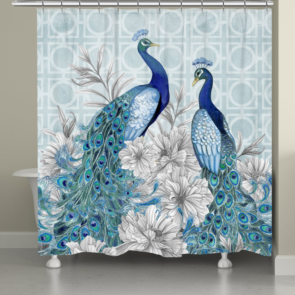 Blue Peacocks Shower Curtain