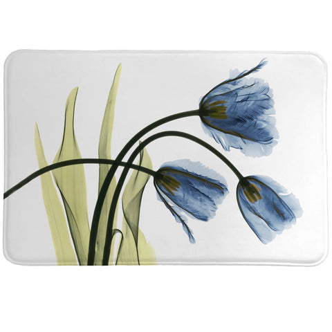 Blue Tulip Trio X-Ray Flowers Memory Foam Rug