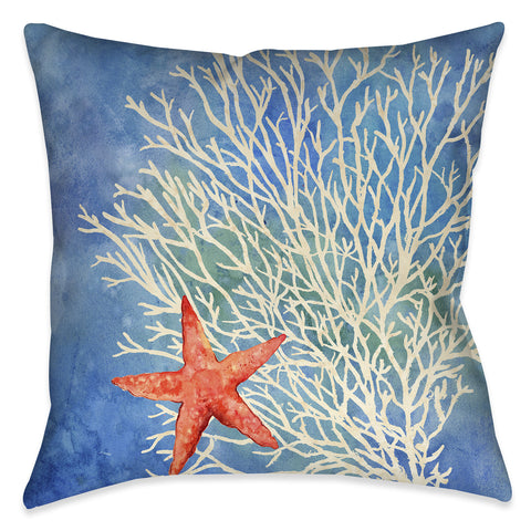 Coral Starfish Splash Outdoor Decorative Pillow