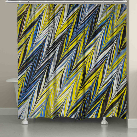 Blue Yellow ZigZag Shower Curtain
