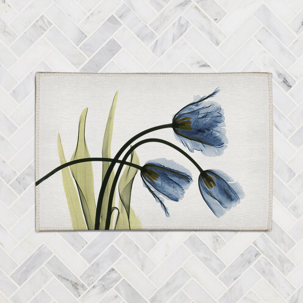 Blue Tulip Trio X-Ray Flowers Accent Rug