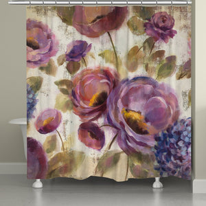 Purple Floral Garden Shower Curtain