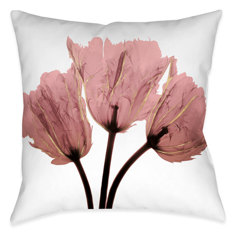 Blush Pink Tulips X-Ray Outdoor Decorative Pillow