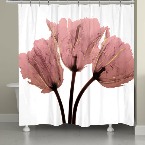 Blush Pink Tulips X-Ray Shower Curtain
