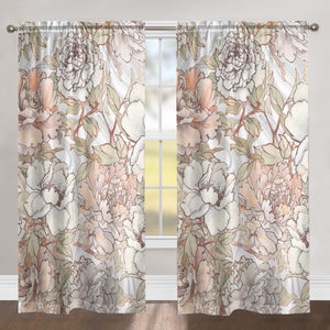 Blushing Pale Pink Peonies Sheer Window Panel