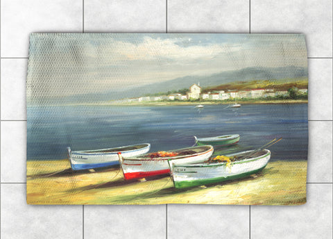 Boats on the Beach Accent Rug