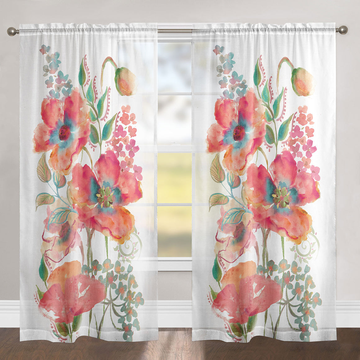 Bright Pink Watercolor Poppy Sheer Window Panel